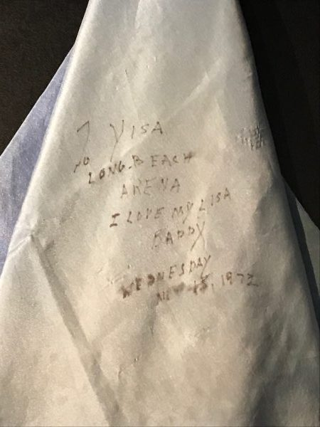 His handkerchief where he wrote Lisa Marie he loved her.
