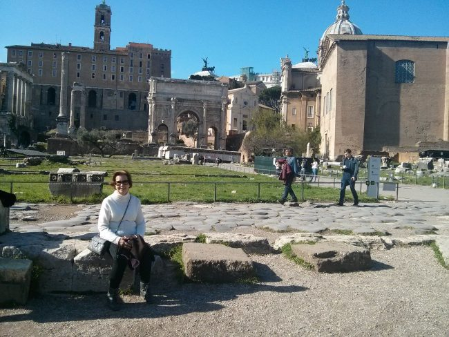 Resting in the Forum, amongst temples.