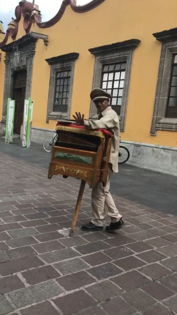 To the sound of the street organ in front of the Town Hall.